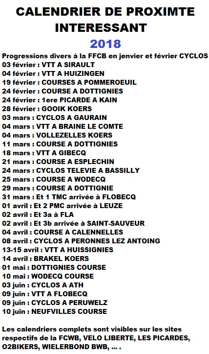 calendriers tous proches 2018