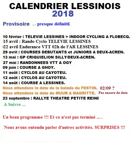 CALENDRIER LESSINOIS 2018 2